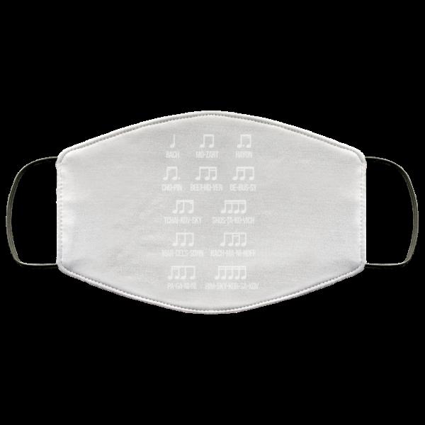 Composer Rhythm Music Gift Bach Mozart Beethoven Chopin Camiseta Face Mask Face Mask 3