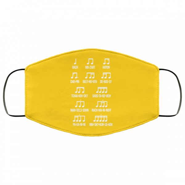 Composer Rhythm Music Gift Bach Mozart Beethoven Chopin Camiseta Face Mask Face Mask 4
