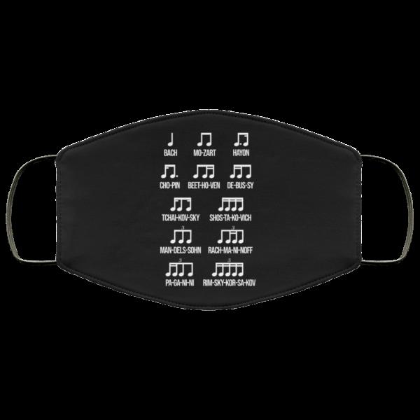 Composer Rhythm Music Gift Bach Mozart Beethoven Chopin Camiseta Face Mask Face Mask 5