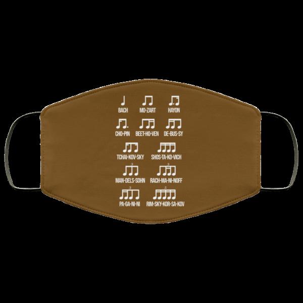 Composer Rhythm Music Gift Bach Mozart Beethoven Chopin Camiseta Face Mask Face Mask 6