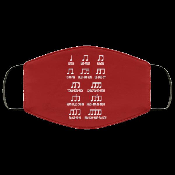 Composer Rhythm Music Gift Bach Mozart Beethoven Chopin Camiseta Face Mask Face Mask 7