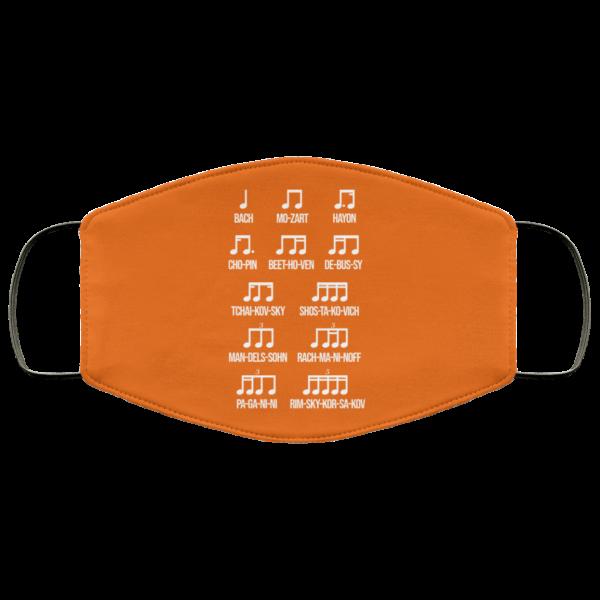 Composer Rhythm Music Gift Bach Mozart Beethoven Chopin Camiseta Face Mask Face Mask 8