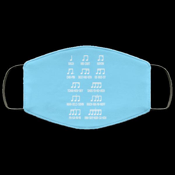 Composer Rhythm Music Gift Bach Mozart Beethoven Chopin Camiseta Face Mask Face Mask 9