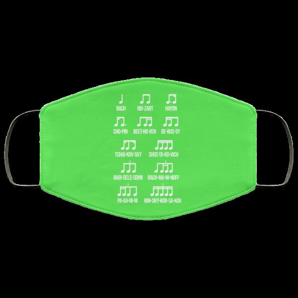 Composer Rhythm Music Gift Bach Mozart Beethoven Chopin Camiseta Face Mask Face Mask 13