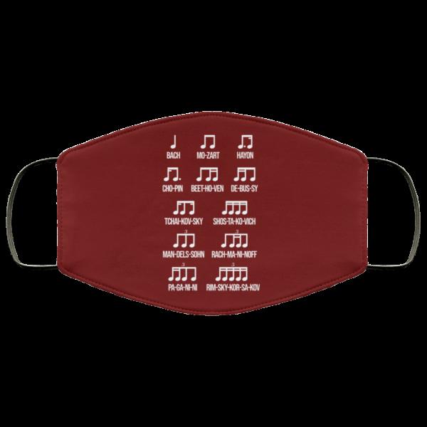 Composer Rhythm Music Gift Bach Mozart Beethoven Chopin Camiseta Face Mask Face Mask 14