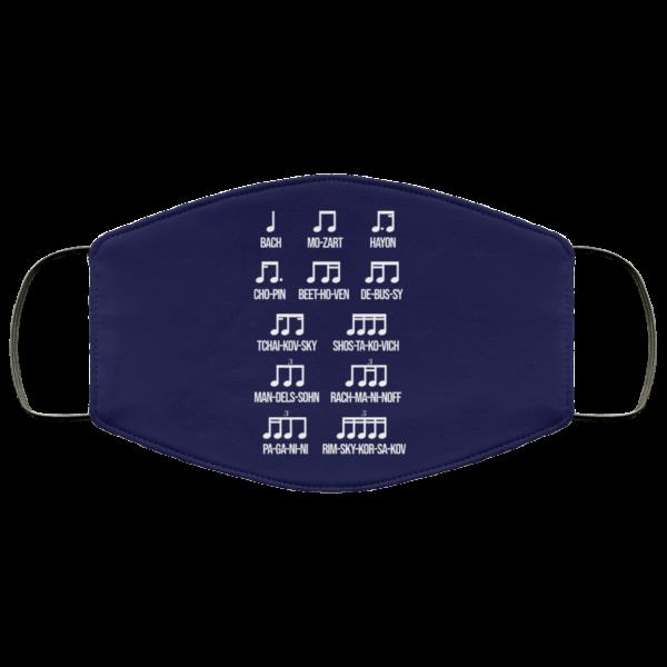 Composer Rhythm Music Gift Bach Mozart Beethoven Chopin Camiseta Face Mask Face Mask 15