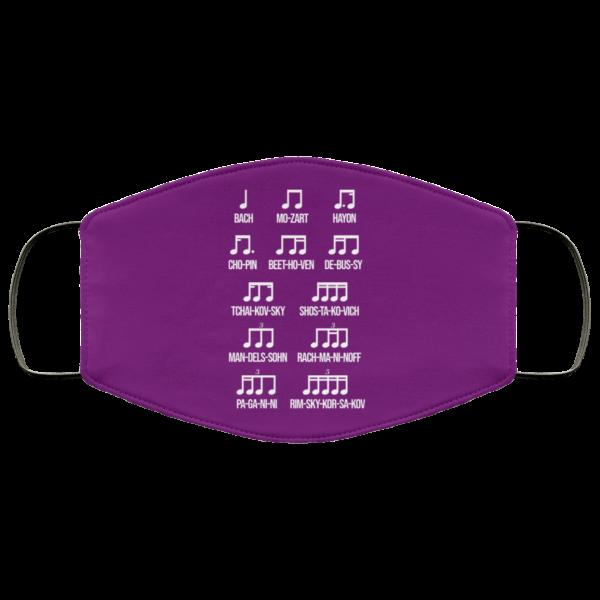 Composer Rhythm Music Gift Bach Mozart Beethoven Chopin Camiseta Face Mask Face Mask 19