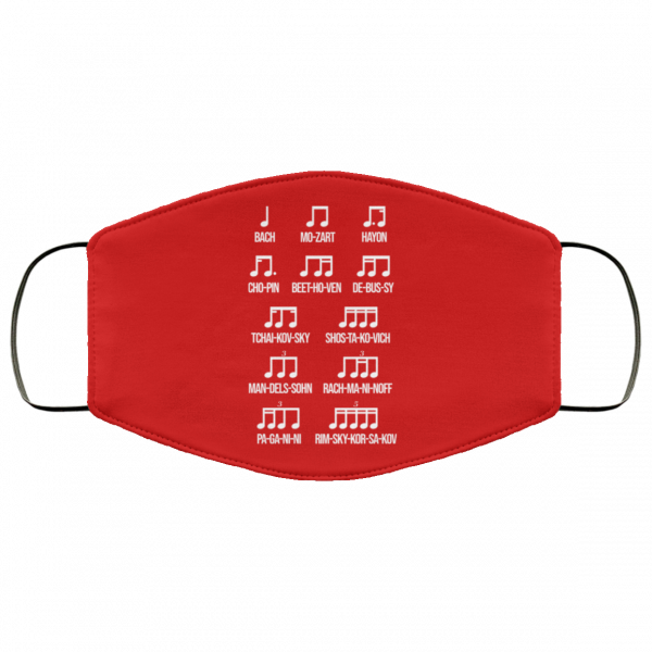 Composer Rhythm Music Gift Bach Mozart Beethoven Chopin Camiseta Face Mask Face Mask 20