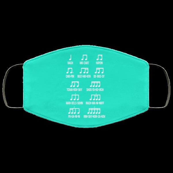 Composer Rhythm Music Gift Bach Mozart Beethoven Chopin Camiseta Face Mask Face Mask 24