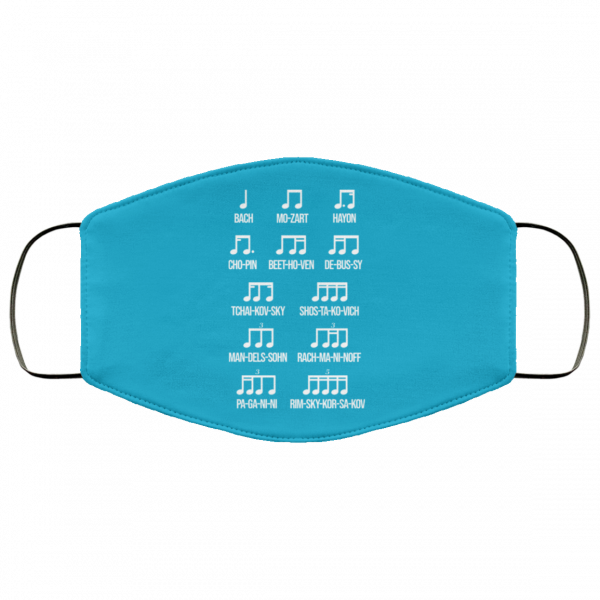 Composer Rhythm Music Gift Bach Mozart Beethoven Chopin Camiseta Face Mask Face Mask 25