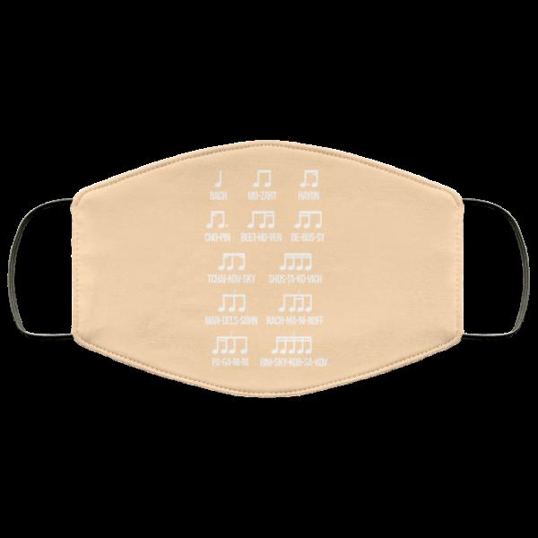 Composer Rhythm Music Gift Bach Mozart Beethoven Chopin Camiseta Face Mask Face Mask 26