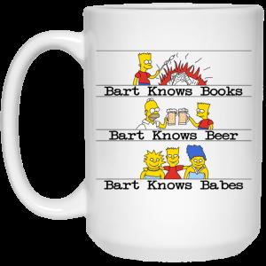 Bart Knows Books Bart Knows Beer Bart Knows Babes The Simpsons Mug Coffee Mugs 2