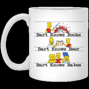 Bart Knows Books Bart Knows Beer Bart Knows Babes The Simpsons Mug Coffee Mugs