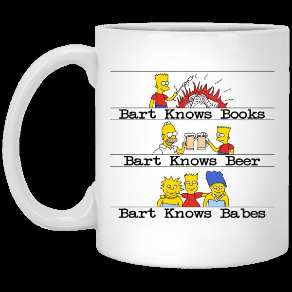 Bart Knows Books Bart Knows Beer Bart Knows Babes The Simpsons Mug Coffee Mugs 3