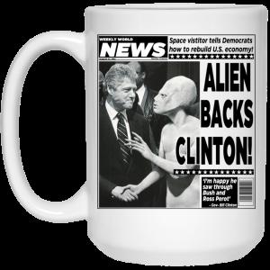 Vintage World News Alien Backs Clinton Mug Coffee Mugs 2