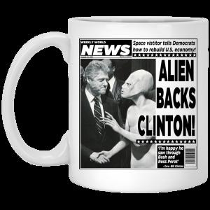Vintage World News Alien Backs Clinton Mug Coffee Mugs